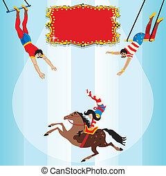 trapèze, voler, cirque, anniversaire