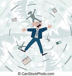 trap., crisis., skuld, finansiell, falla