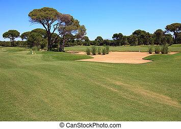 trap., curso, arena, golf