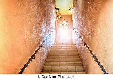 trap, het uitgaan, om te, de, licht