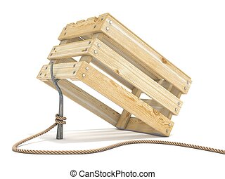 Trap made of wooden crate and rope tide to stick 3D