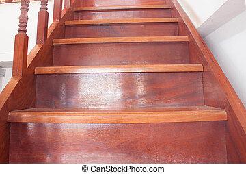 trap, met, houten, stappen, op, thailand, woning