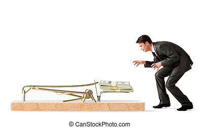 Trap - Photo of attentive businessman standing by mouse trap...