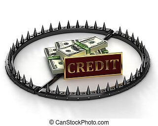 An abstract image of credit slavery - Trap with bait in the ...