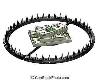 An abstract image of credit slavery - Trap with bait in the...