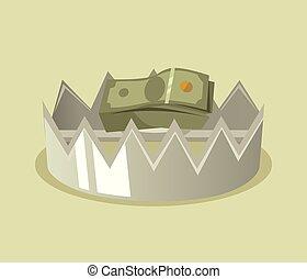 Trap with money. Vector flat cartoon illustration