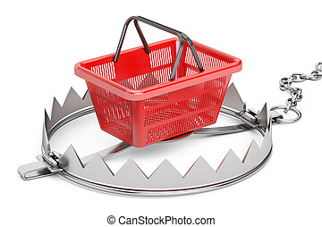 trap with shopping basket, 3D rendering
