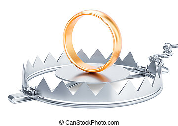 Trap with wedding rings, 3D rendering