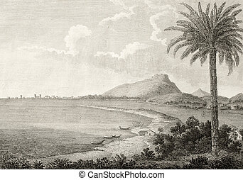 Trapani and Erice old illustration - An old view of Trapani,...