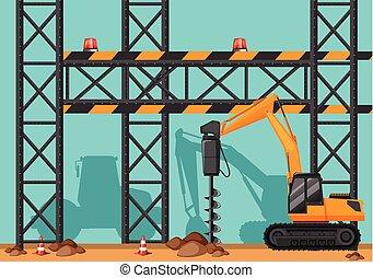 trapano, buco, luogo costruzione, vangata