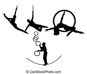 trapecio, circo, artistas