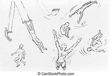 trapeze artist illustration set - trapeze artist collection ...