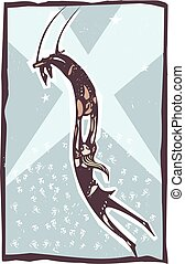 Trapeze Artists Performing - woodcut style illustration of a...