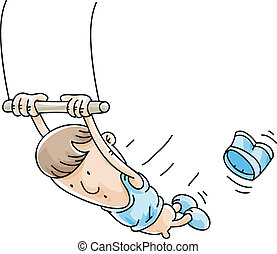 Trapeze Loss - A man on a trapeze loses his shorts.