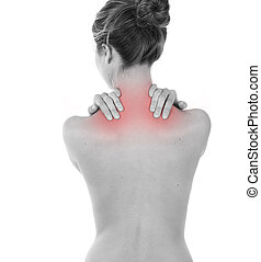 Woman having neck and trapezius pain, isolated on white