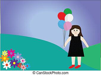 trapo, diferente, brinquedo, boneca, colorido, cinco, segurando, balões