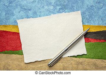 trapo, folha, caneta, papel, em branco, branca