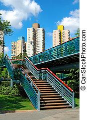 trappa, av, overbridge, i park