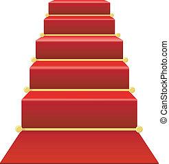 trappa, med, röd matta