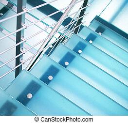 trappa, nymodig, glas