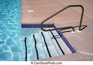 trappa, slå samman, simning