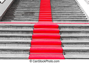 trappa, svart, väg, vit röd, matta