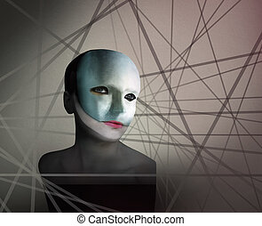 Artistic image represent a face ofa a woman with a mask in geometry lines in the background