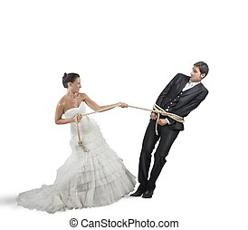 Trapped by marriage - A man trapped with rope by marriage