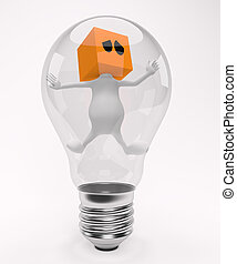 3d little cute people with cube orange head, trapped in the bulb, isolated on white