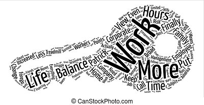 Trapped On The Treadmill Work Life Balance text background word cloud concept