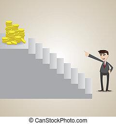 trappsteg, guld, topp, fokusera, affärsman, mynt, tecknad film