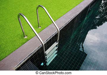 trappsteg, slå samman, simning, hotell