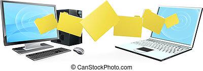 trasferimento, computer portatile, cartella