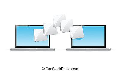 trasferimento, laptop, disegno, file, illustrazione