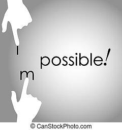 trasformare, possibile, mano, vettore, disegno, impossibile