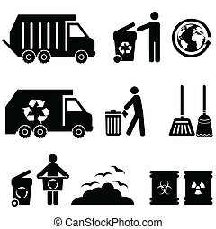 Trash, garbage and waste icon set