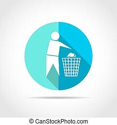 Trash and man icon. Vector illustration.