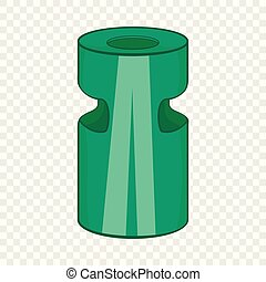 Trash ashtray icon, cartoon style