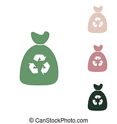 Trash bag icon. Russian green icon with small jungle green, puce and desert sand ones on white background. Illustration.