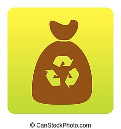 Trash bag icon. Vector. Brown icon at green-yellow gradient square with rounded corners on white background. Isolated.