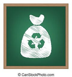 Trash bag icon. White chalk effect on green school board.