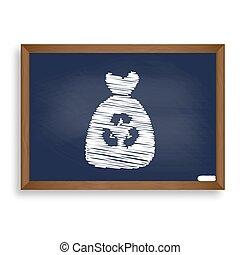 Trash bag icon. White chalk icon on blue school board with shado