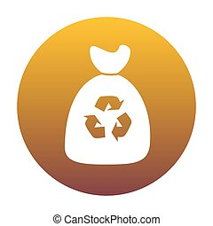 Trash bag icon. White icon in circle with golden gradient as bac