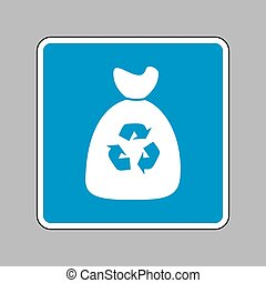 Trash bag icon. White icon on blue sign as background.