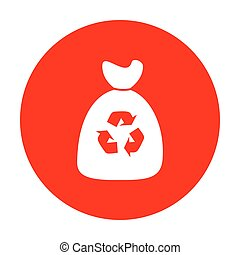Trash bag icon. White icon on red circle.