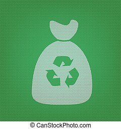 Trash bag icon. white icon on the green knitwear or woolen cloth