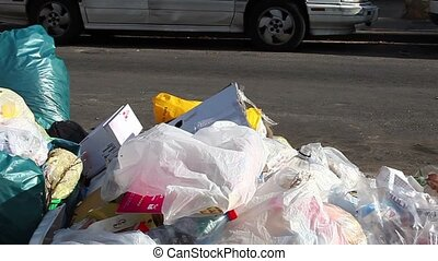 Trash - Bags of garbage on the road