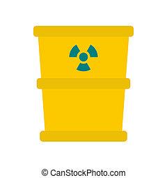 Trash barrel with radioation sign icon, flat style