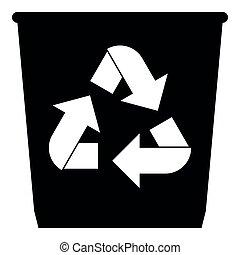 Trash basket icon black color icon with utilization arrows -...