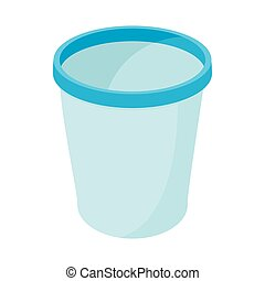 Trash basket icon, cartoon style